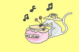 The Fairy Band Mouse with drums